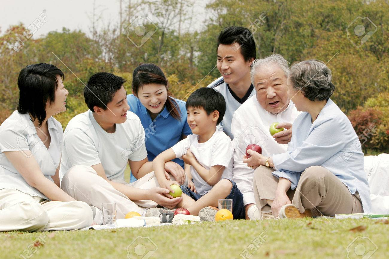 A big family picnicking in the park Stock Photo - 26382506