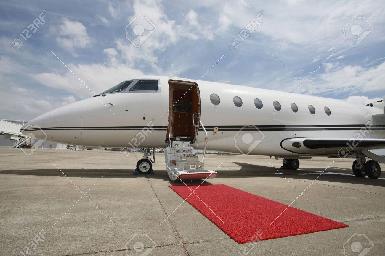 Private airplane with red carpet Stock Photo - 26385893