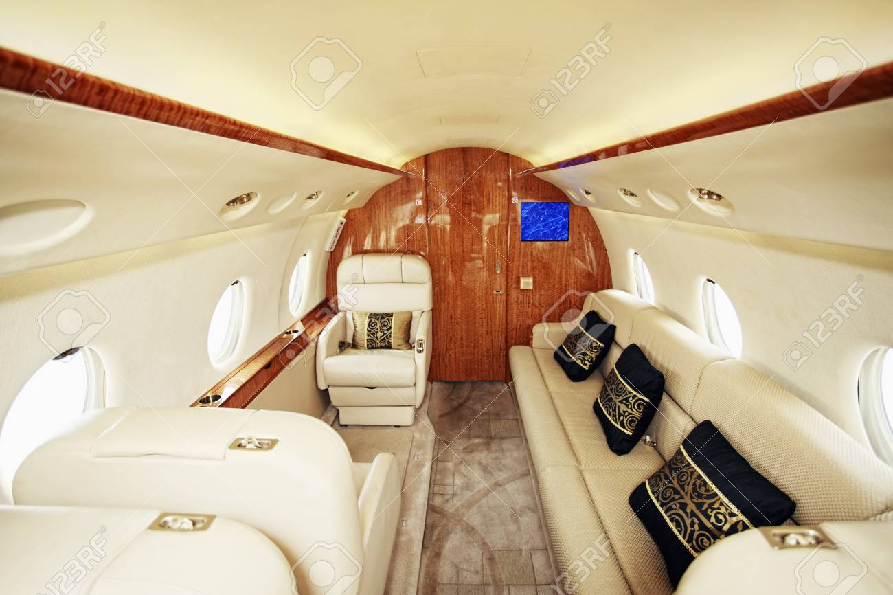Luxurious leather seat on private airplane Stock Photo - 26386197