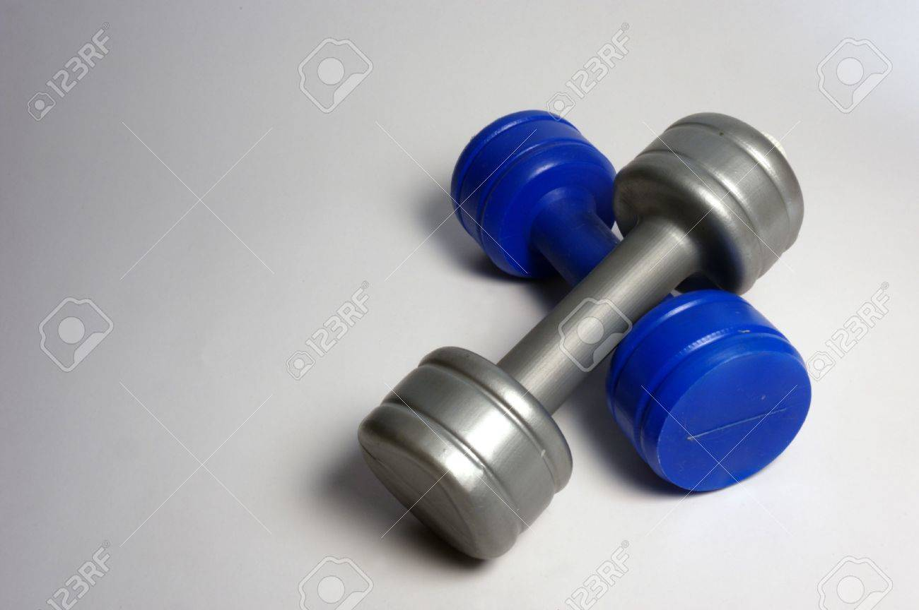 two plastic dumbbells from above Stock Photo - 1180660