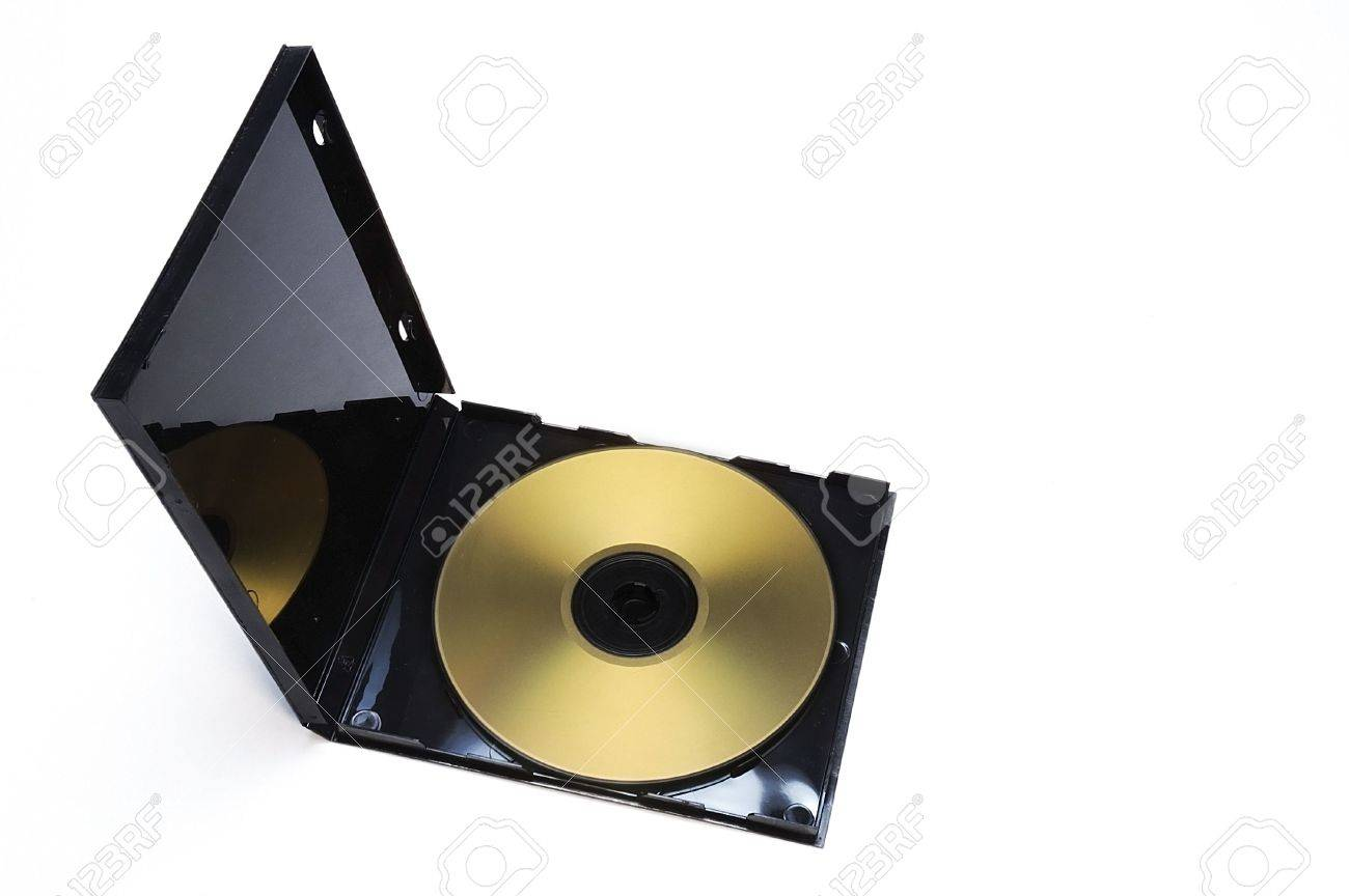 open cd dvd case with a golden disk stock photo picture and royalty
