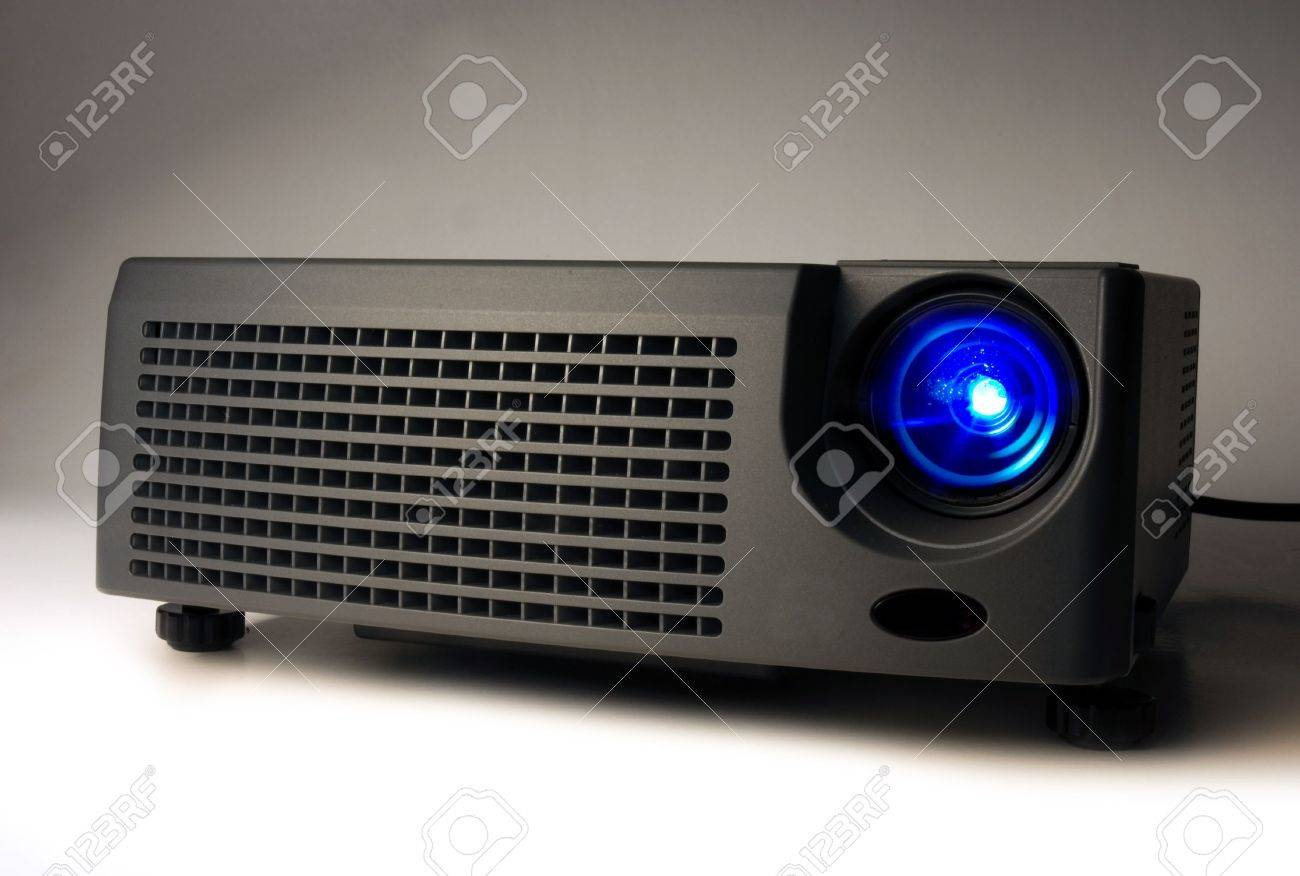 LCD projector with light on Stock Photo - 2494691