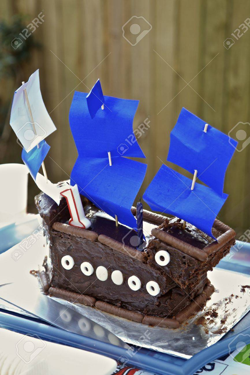 Terrific Childerens 1St Birthday Cake Sailing Boat Stock Photo Picture Birthday Cards Printable Trancafe Filternl