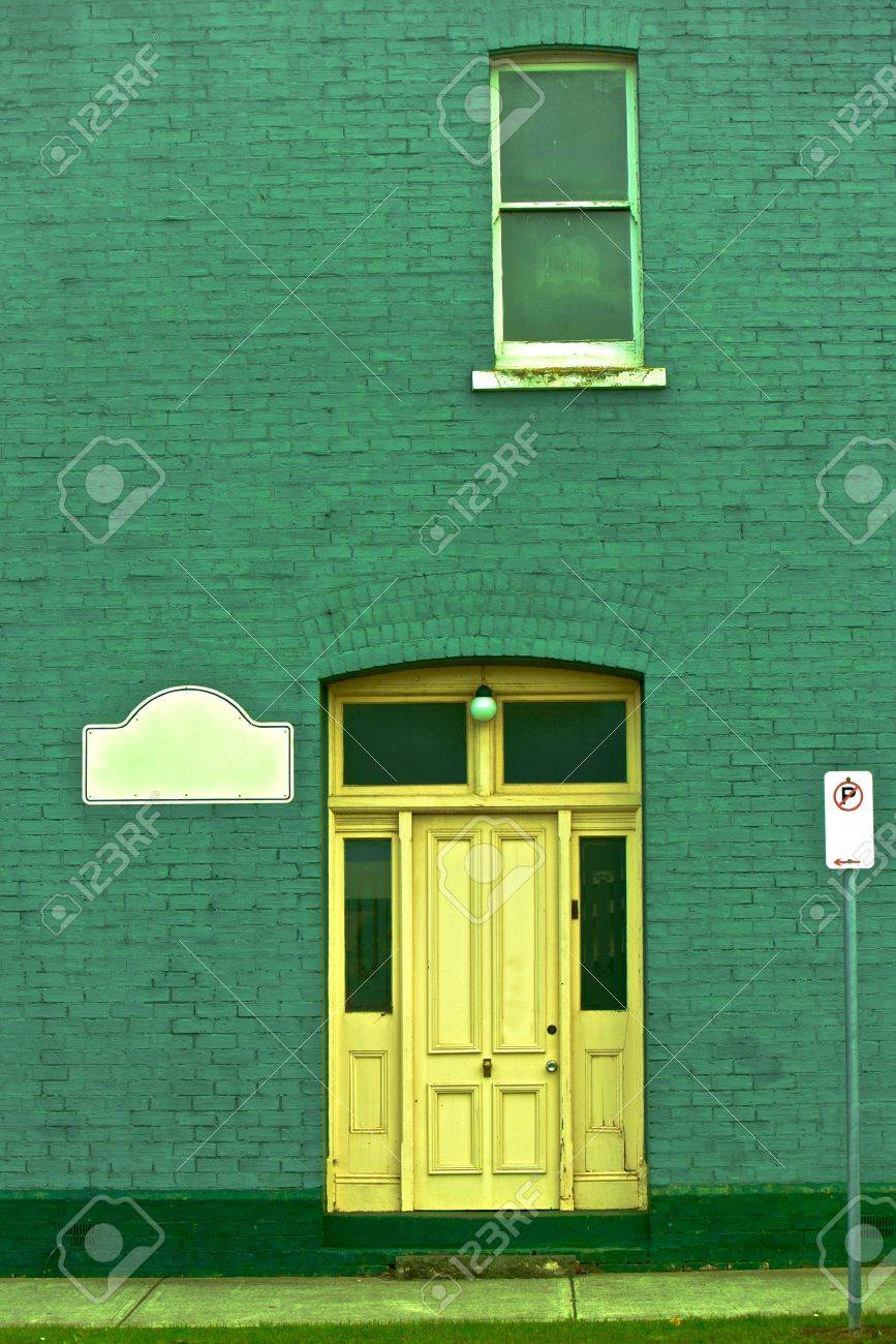 Antique green wall, part of a building Stock Photo - 15166036
