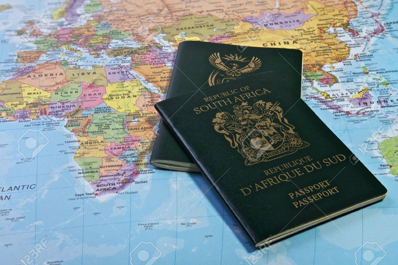 South African Passport with the world map - 16449151