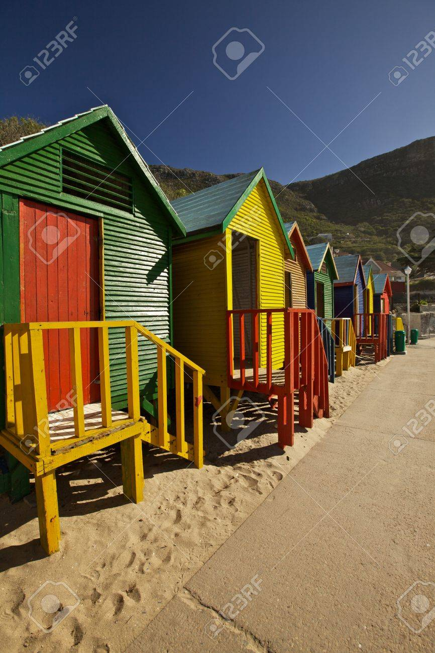 Colorful changing cabins at St James Beach, Cape Town Stock Photo - 16598271