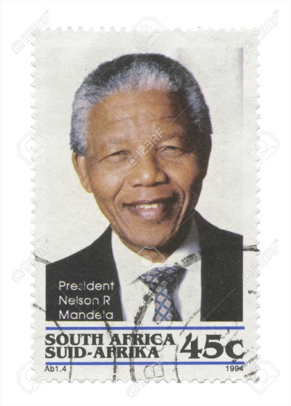 South Africa - President Nelson Mandela stamp becoming South African first black president, Pretoria 1994 05 10 - 24245553