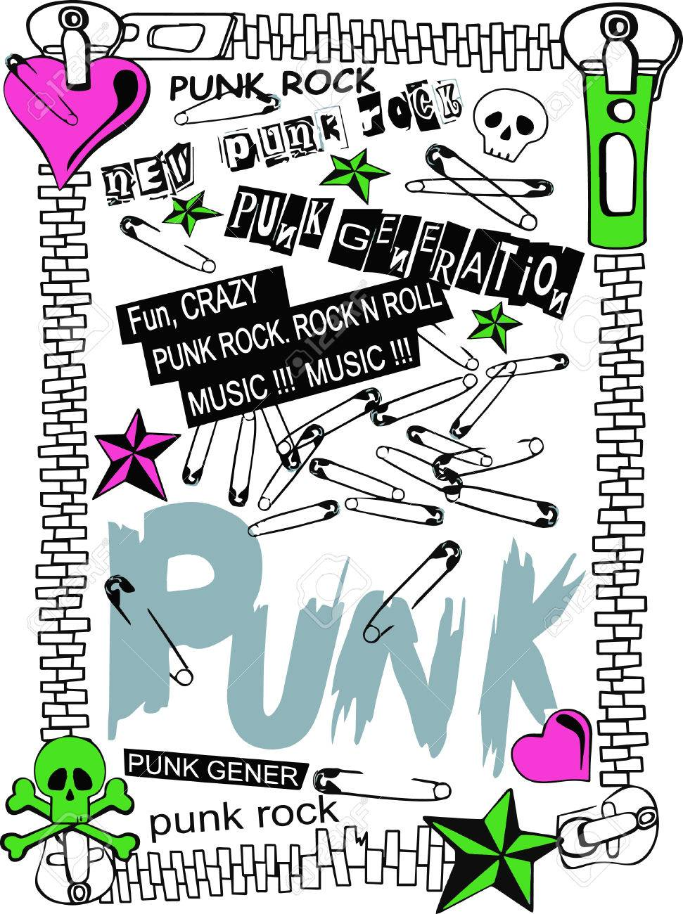 Punk Rock Elements. Vector , Girl, Hearts Royalty Free Cliparts ...