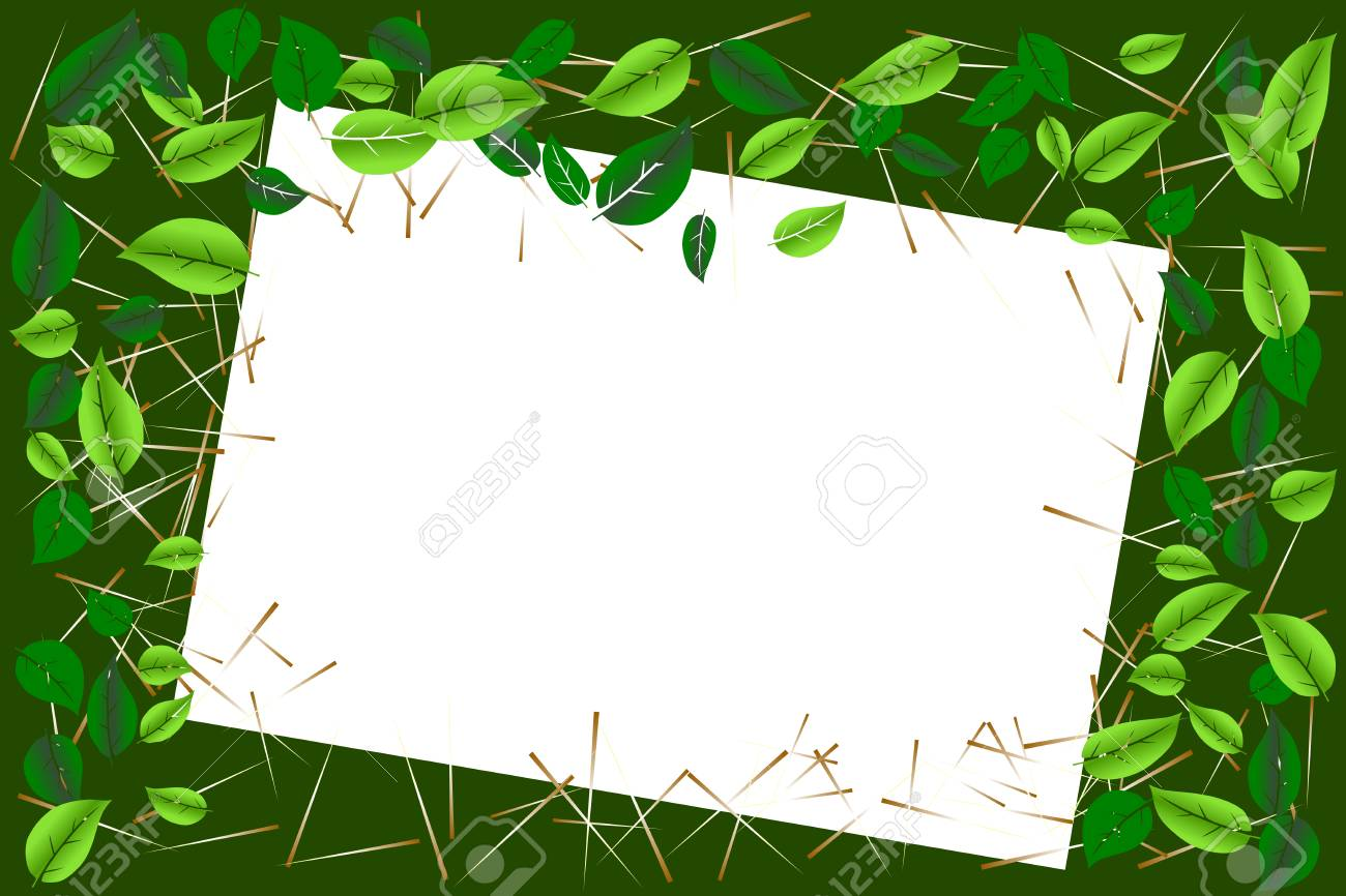 Environmental Concept. Green Leaves Border Frame With White ...