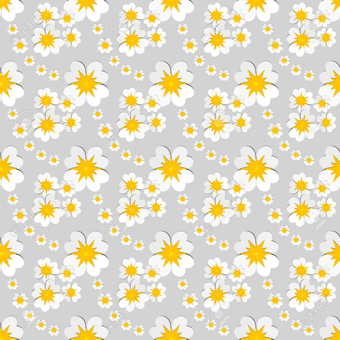 Seamless Floral Pattern Of White Flowers With Yellow Pollen On