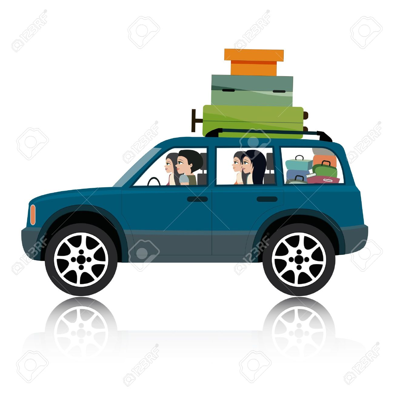 Women drive suv luggage - 21947568