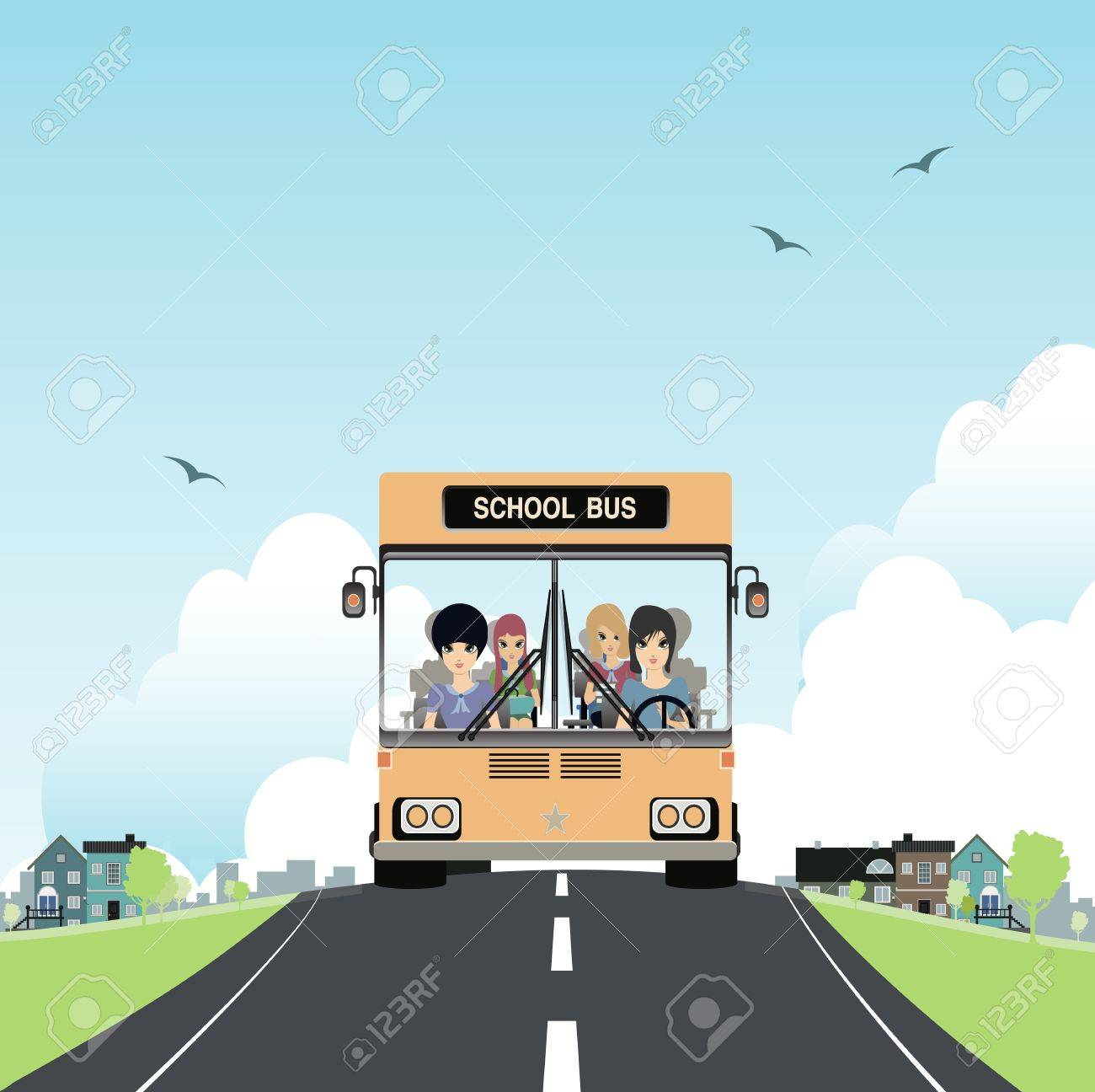 School bus with children in the car Stock Vector - 21990025
