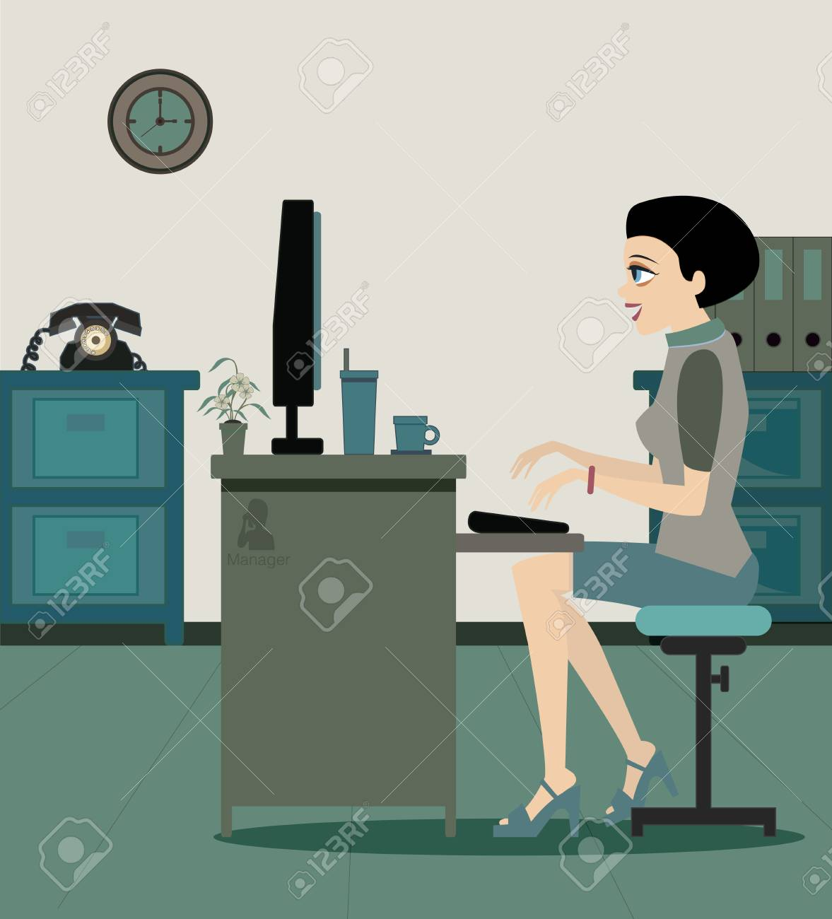 Managers working at the desk in the office Stock Vector - 22099535