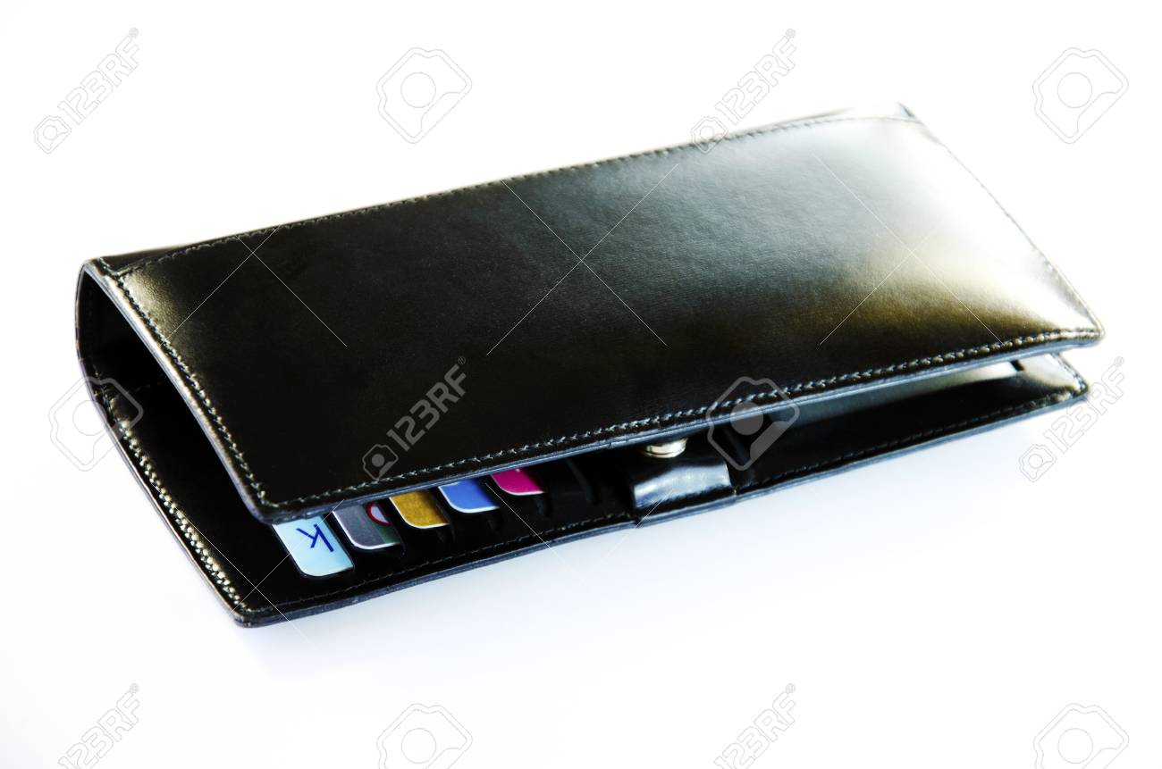 Purse with credit cards have a white Stock Photo - 25104773