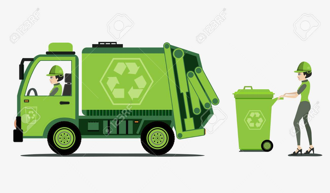 Garbage and trash collection with white background - 25472744