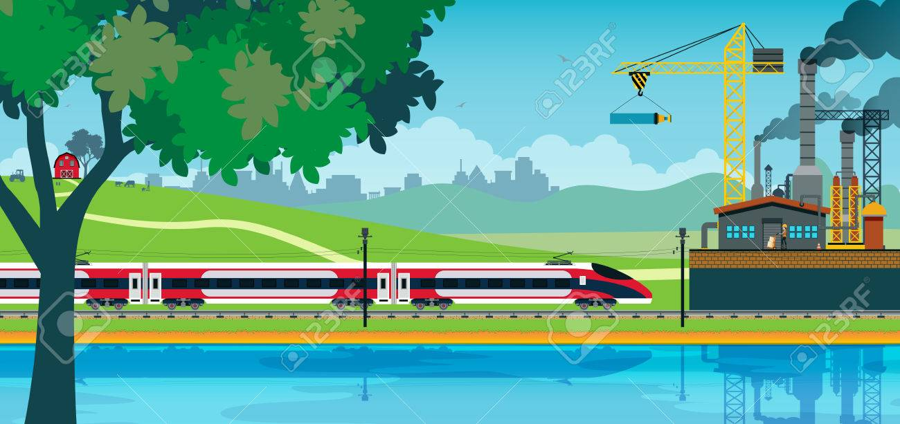 High speed rail against the backdrop of the industry. - 36748220