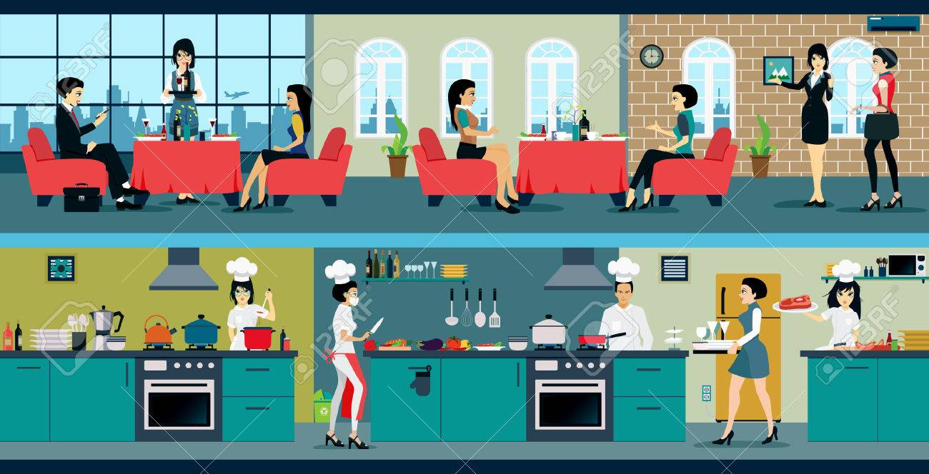 The Restaurant Has A Dining Room And Kitchen Stock Vector