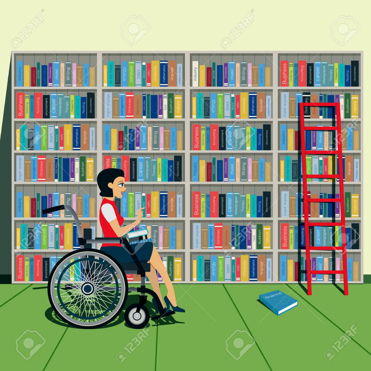 The bookshelves in the library with disabled women. - 41175062