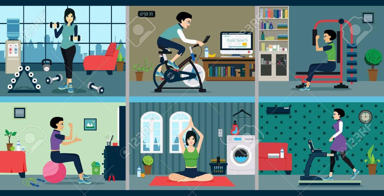 女性運動家でのエクササイズ マシン。のイラスト素材・ベクタ - Image ...