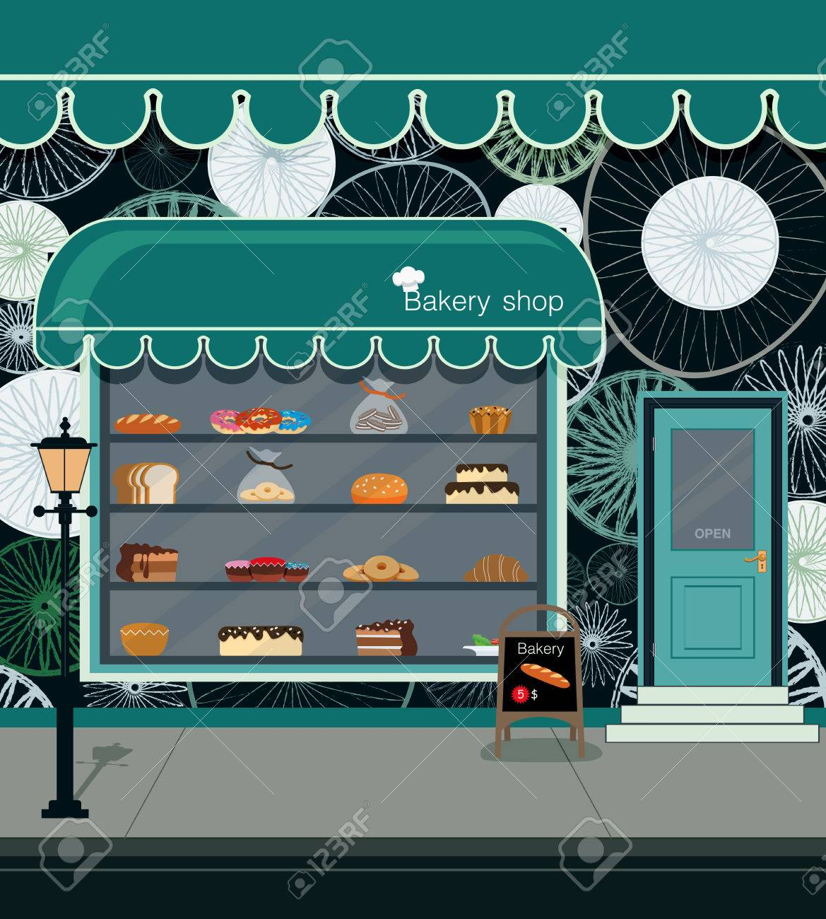 Bread and bakery products in the store bakery. - 45013677