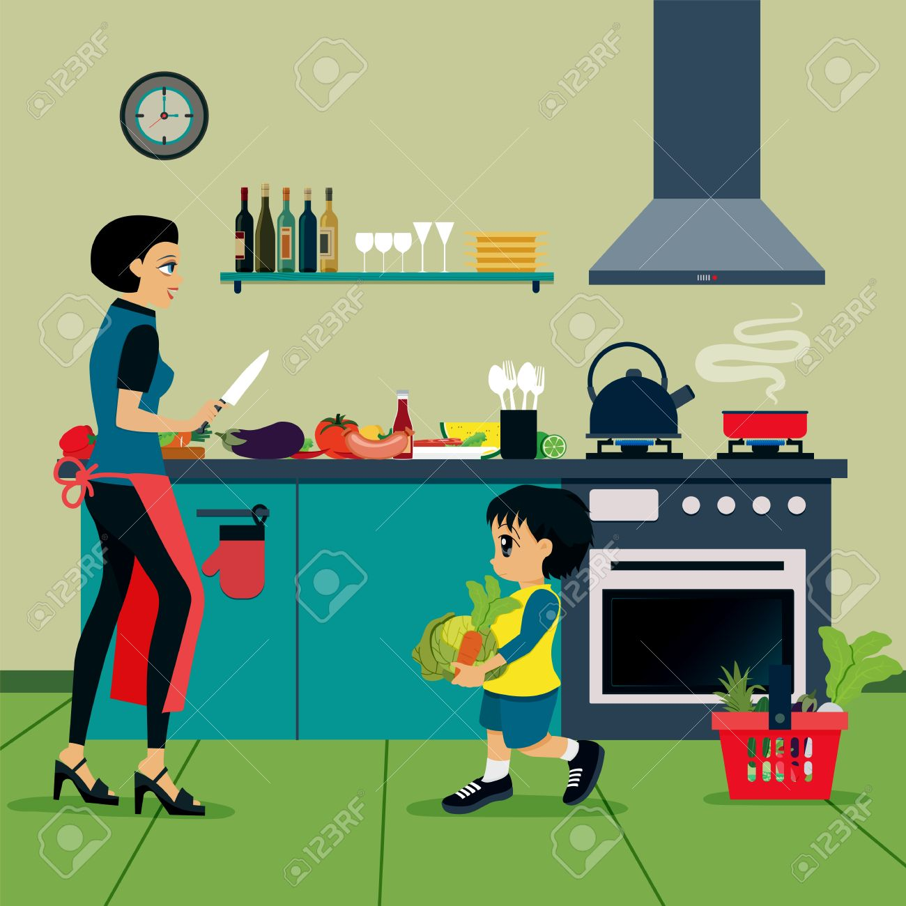 Mother and son are helping to cook in the kitchen - 46548505