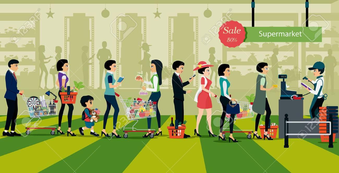 Las personas hacen cola para pagar por compras en los supermercados. Foto de archivo - 47434071
