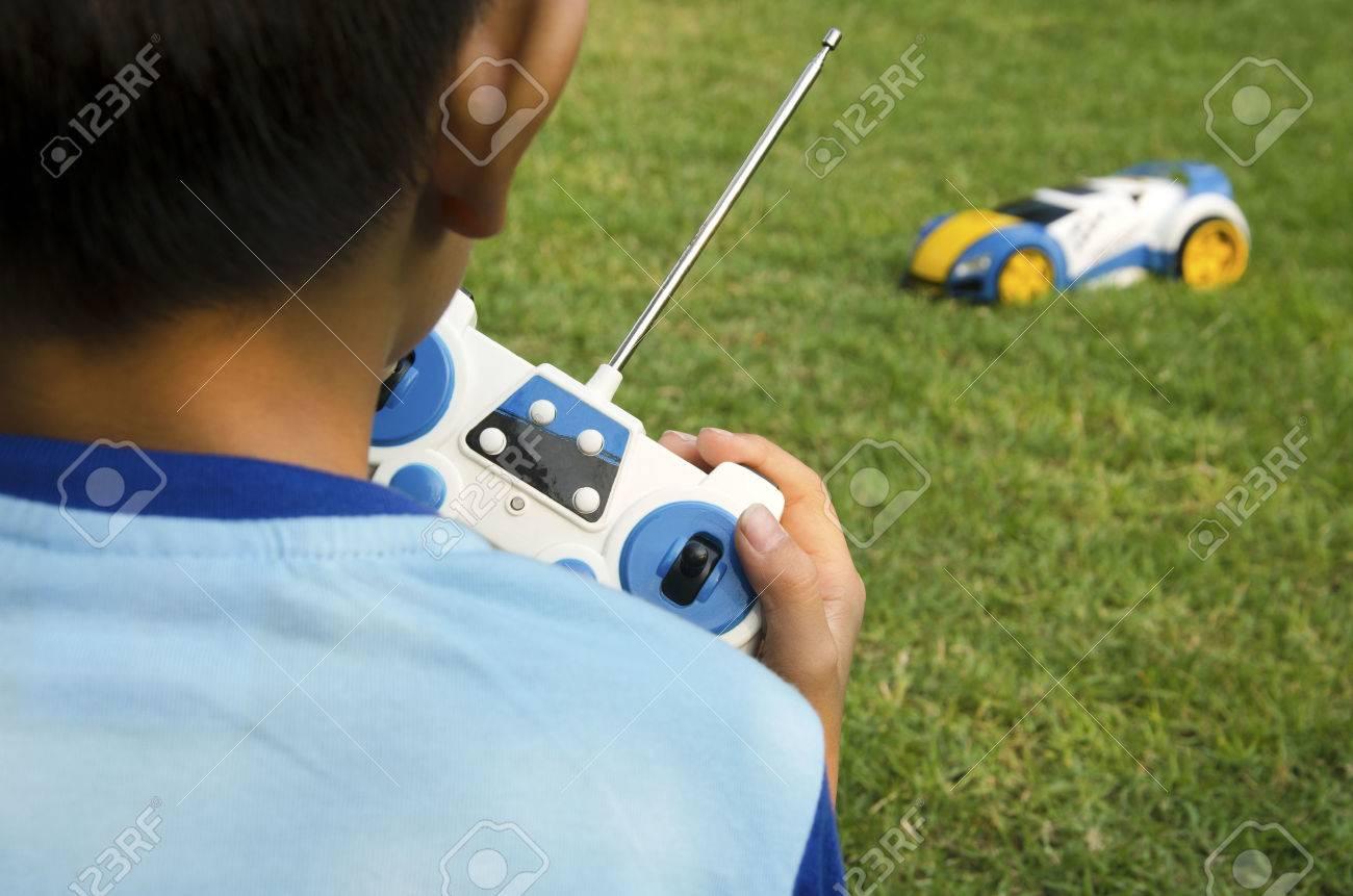 Remote control toy car with a boy. - 50297787