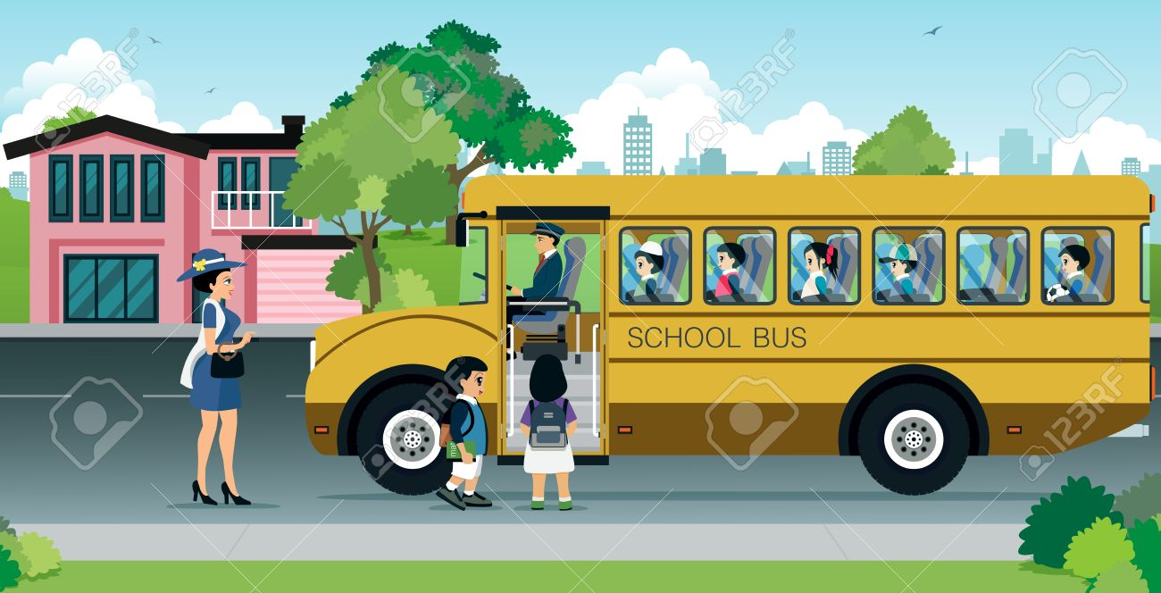 mother are sending their children to school bus. - 54579252