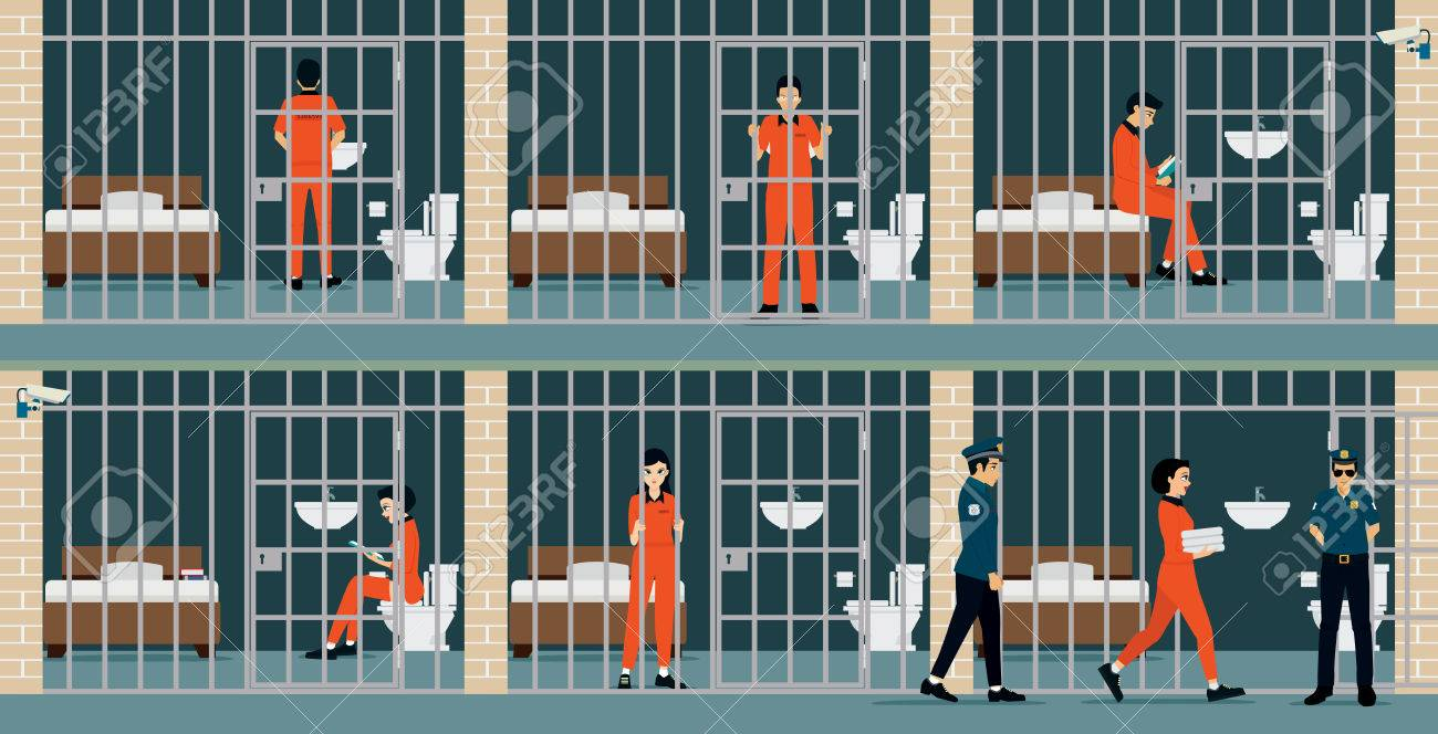 Prison inmates are security guards keep watch. - 54579253