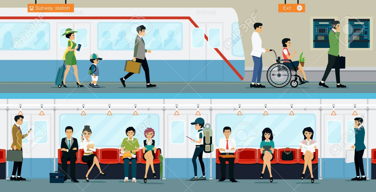 Workers and people with disabilities to travel by subway. - 58800639