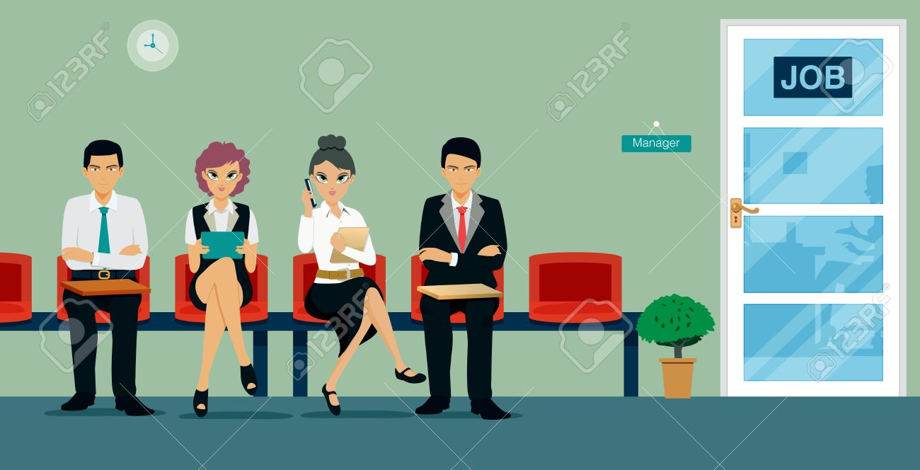 Workers are sitting waiting for a job interview. - 58800641