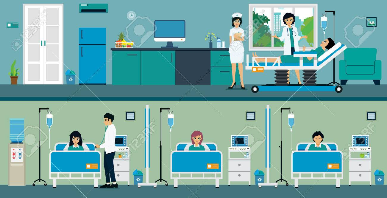Patients in a hospital room with a great room and a common room. - 58800643