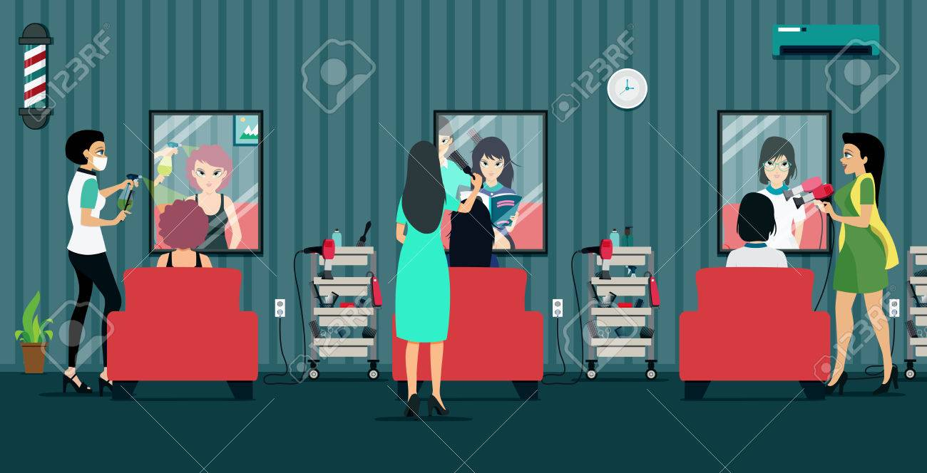 Hairdresser woman made to customers in the Beauty Salon. - 60981445