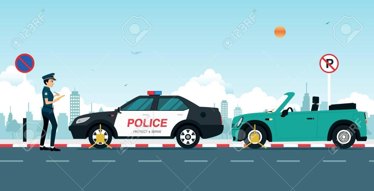 La Policía Está Escribiendo Una Multa De Tráfico A Un Coche Aparcado ...