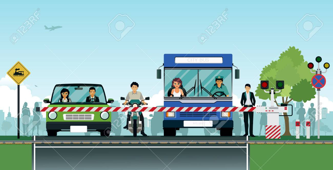 The intersection with the road train with cars waiting safely. - 60982950