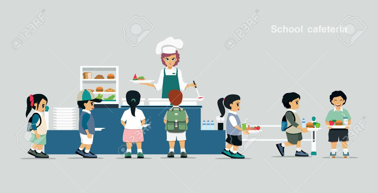 students stand in line to receive food in the school cafeteria rh 123rf com Cafeteria Worker Clip Art From the Cafeteria