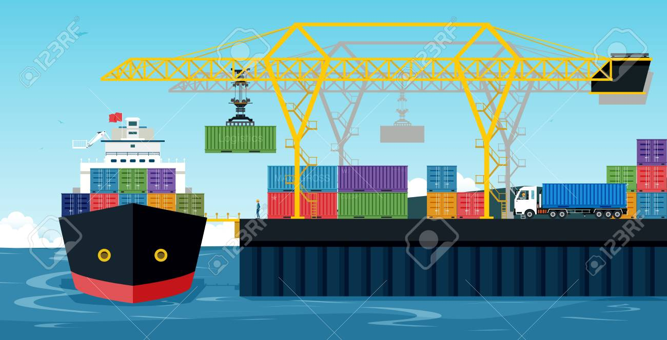 Ports with cargo ships and containers work with crane. - 88237750