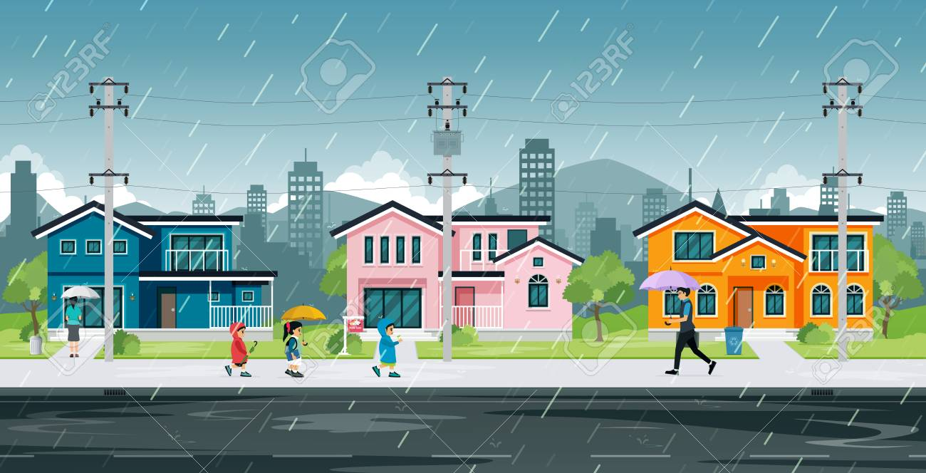 People and school children are walking home in the rain. - 107596648