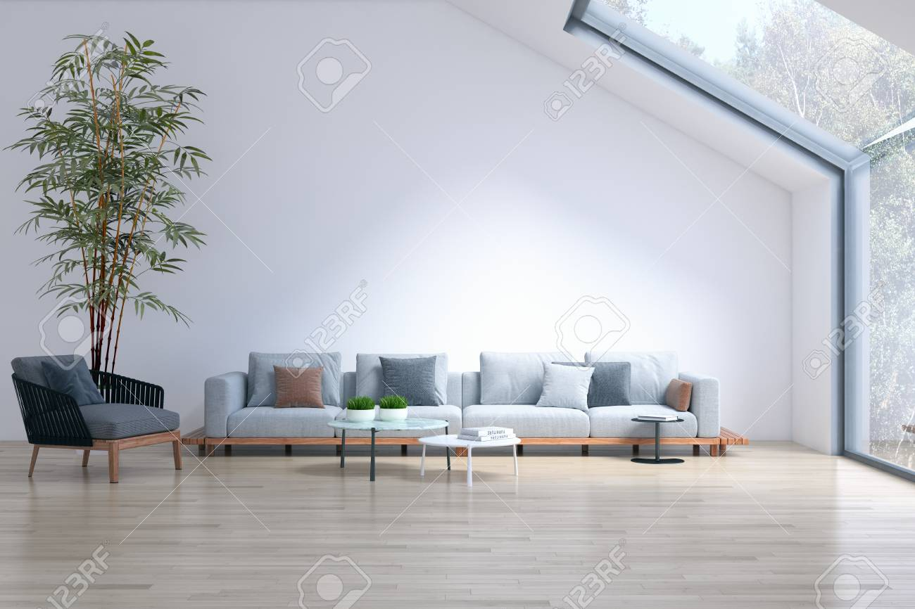Large Luxury Modern Bright Interiors Empty Room Plant And Windows Stock Photo Picture And Royalty Free Image Image 110999564