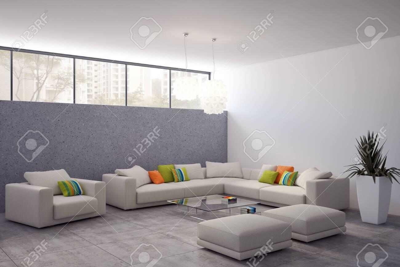 large luxury modern bright interiors Living room mockup illustration 3D rendering computer digitally generated image - 141936774