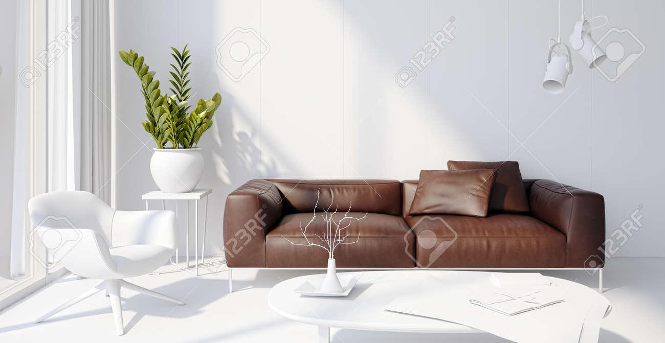 Illustration 3D rendering large luxury modern bright interiors Living room mockup computer digitally generated image - 167343066