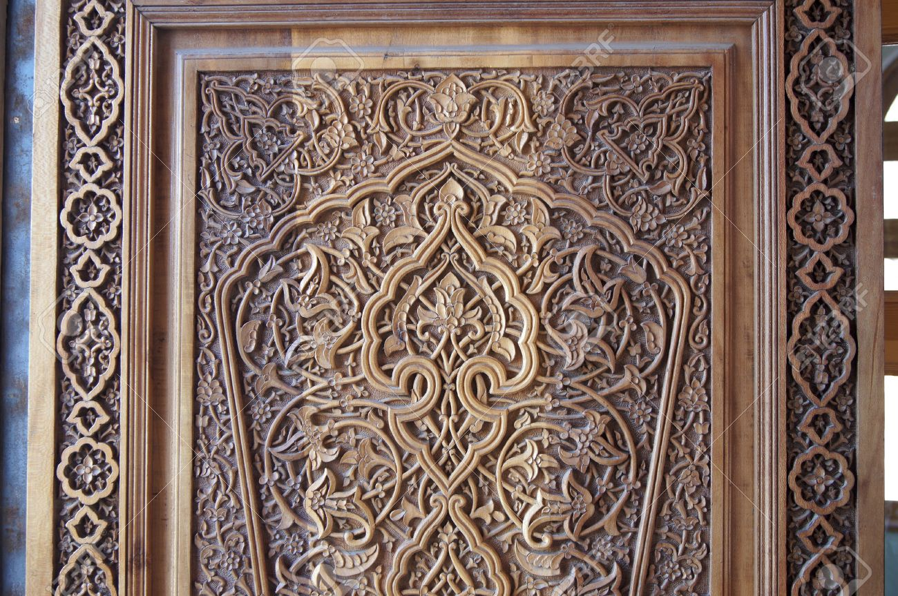 arved Wooden Door. Fragment. Example Of A Traditional Wood-carving ...