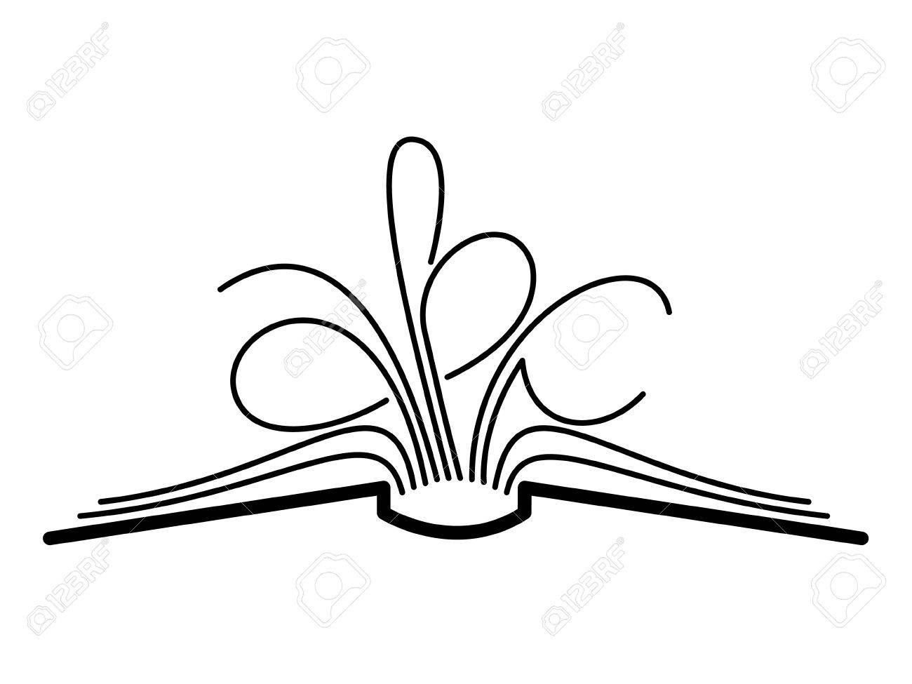 Open Book Line Drawing Vector open book   450 x 459