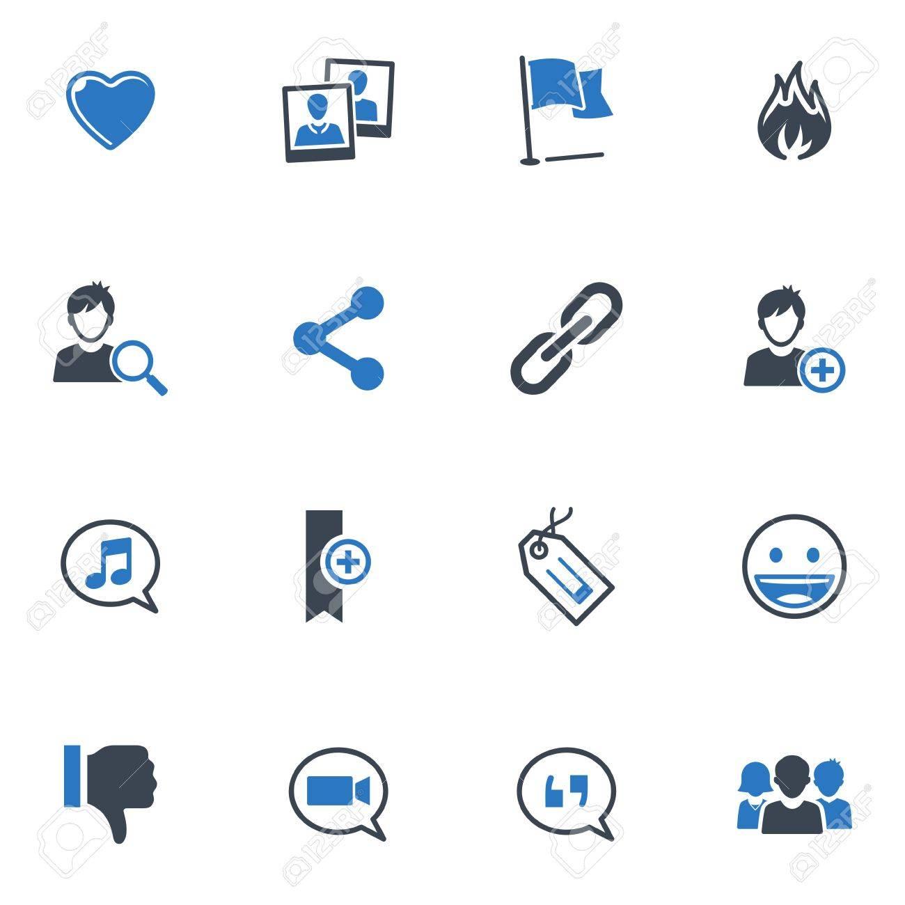Social Media Icons Set 2 - Blue Series Stock Vector - 18025121