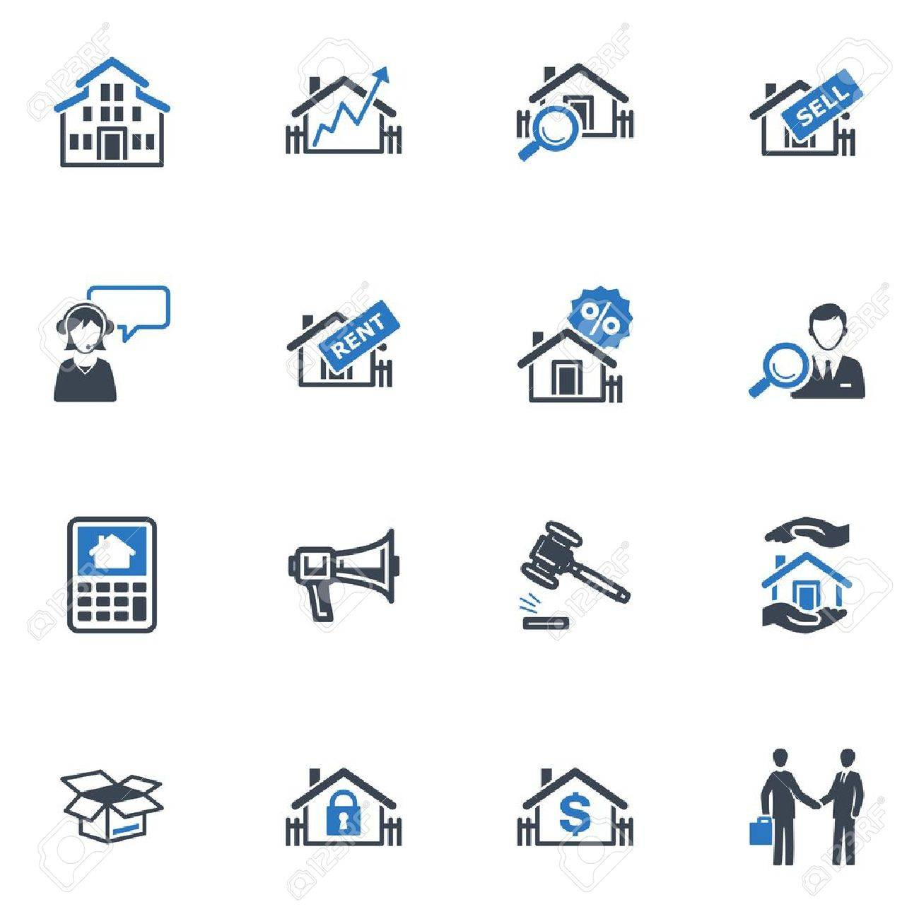 Real Estate Icons - Blue Series Stock Vector - 18025129