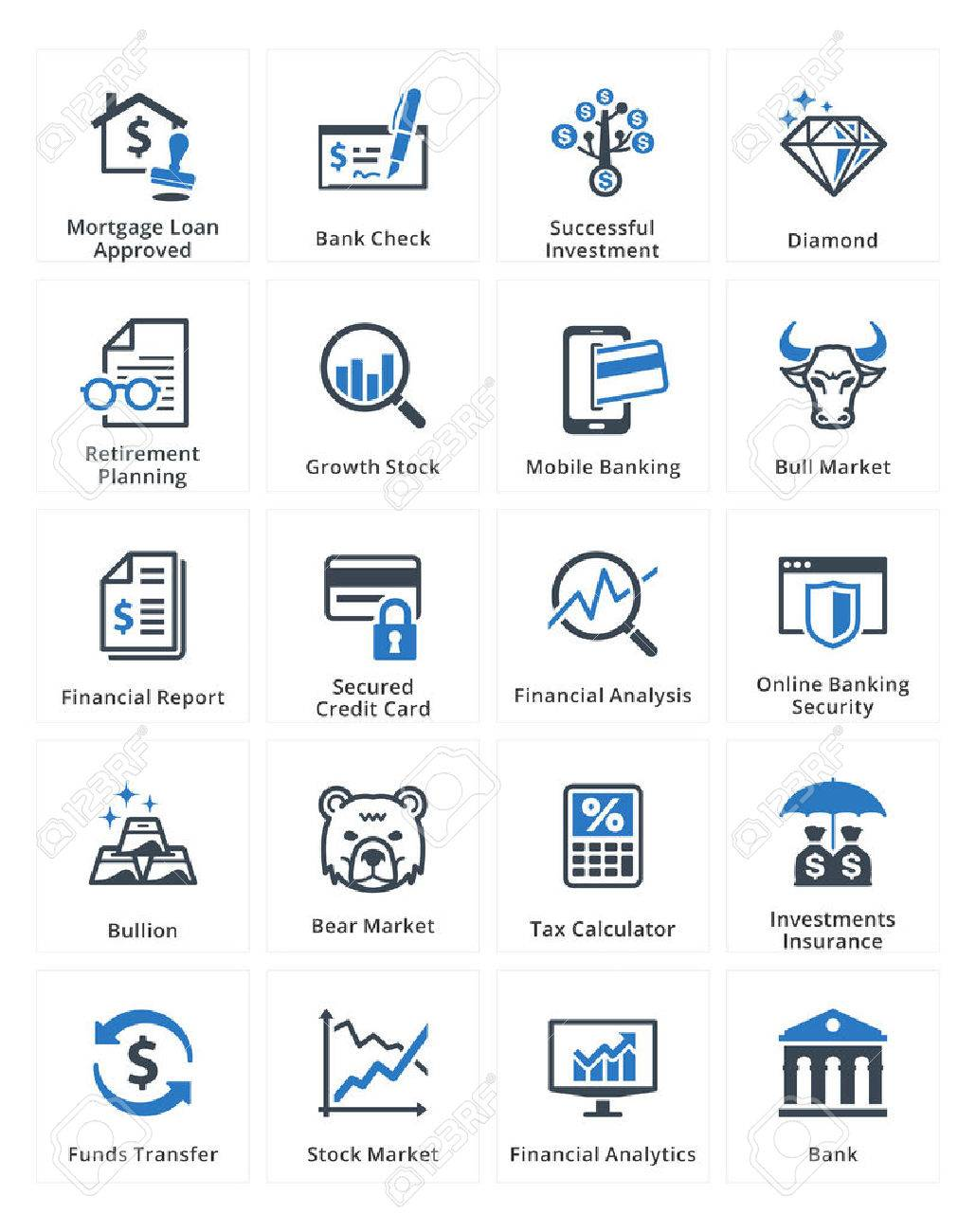 Personal & Business Finance Icons Set 1 - Blue Series - 35821790