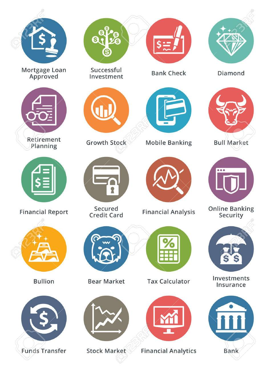 Personal & Business Finance Icons Set 1 - Dot Series - 35821791