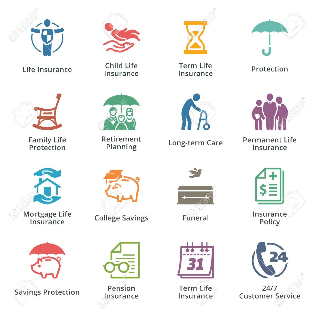 Life Insurance Icons - Colored Series - 54784411