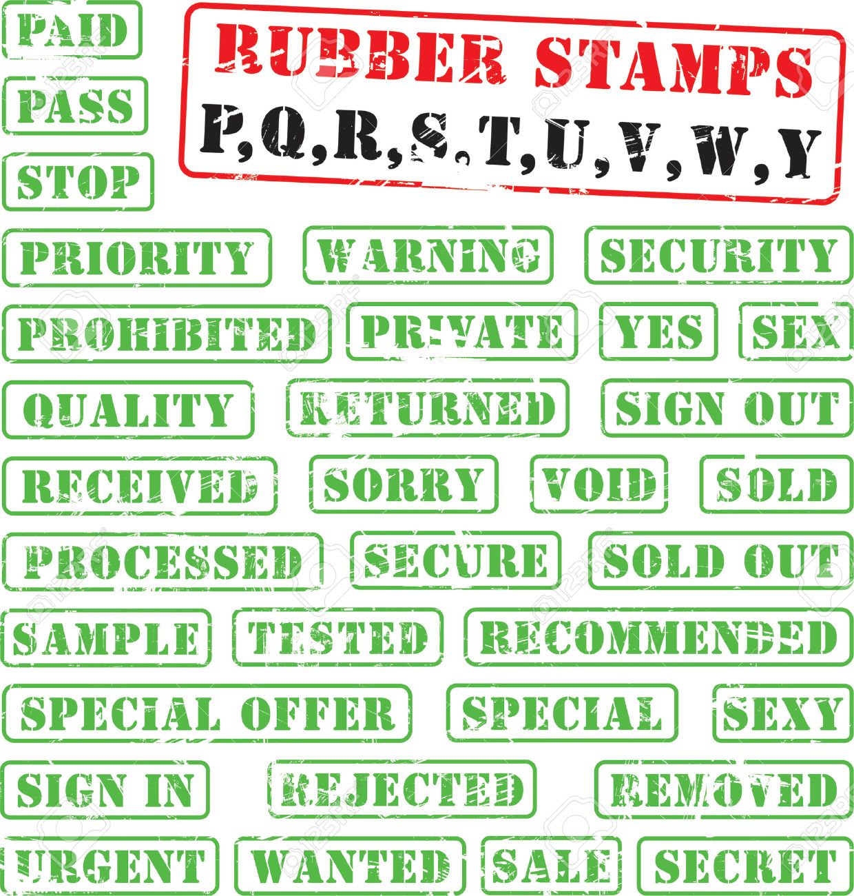 Collection of rubber stamps with words begining with letters P,Q,R,S,T,U,V,W,Y. Stock Vector - 1279719