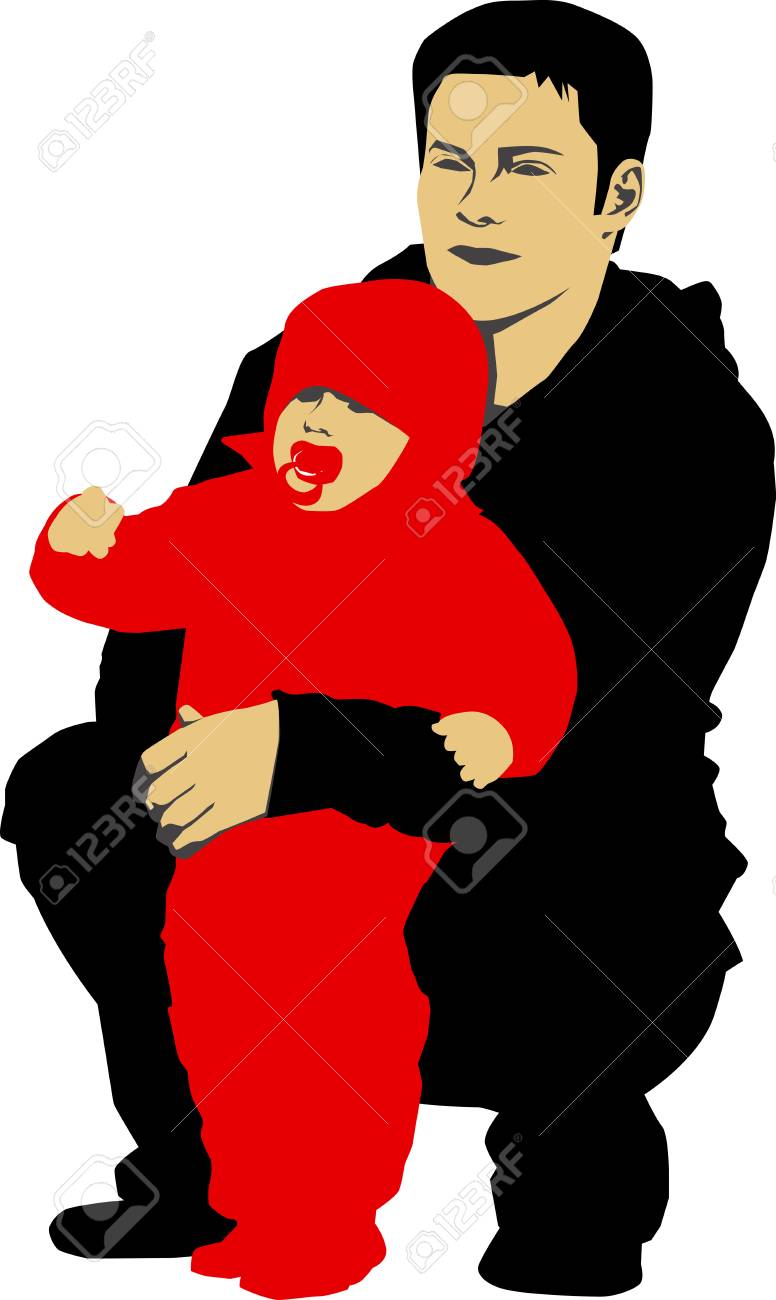 Vector illustration of Father holdin his child Stock Vector - 1779738